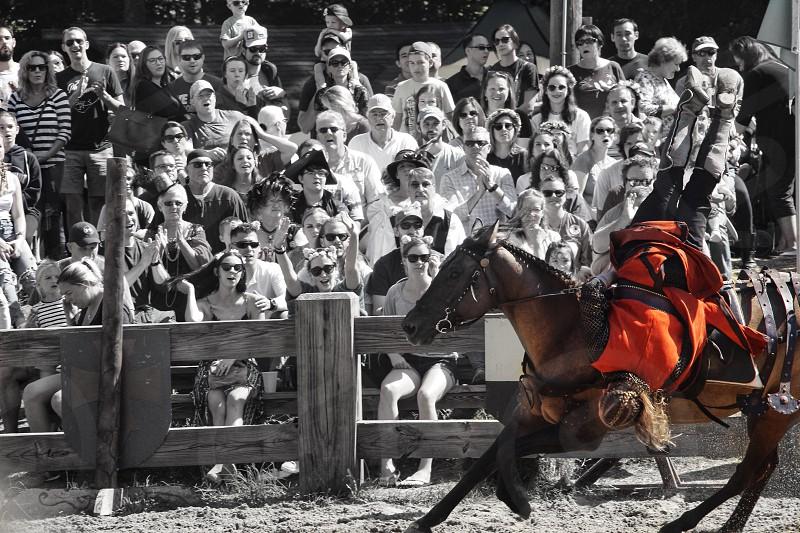 Renaissance festival horse horseback black and white color upside down crowd portrait  photo