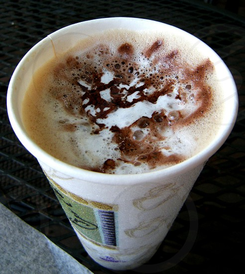 Mocha beverage in disposable cup photo
