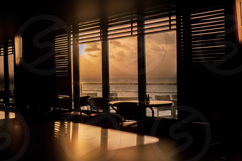 Shot from inside the cruise ship dining room. photo