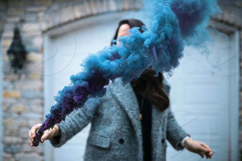 Smoke color girl fog blue fun  photo