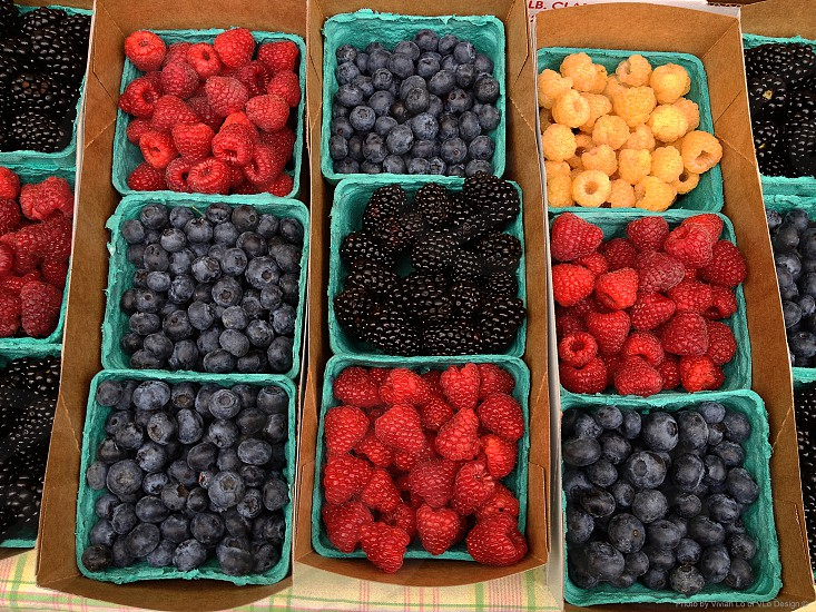 fruits color red raspberries blue berries yellow raspberries farmers market order containment photo