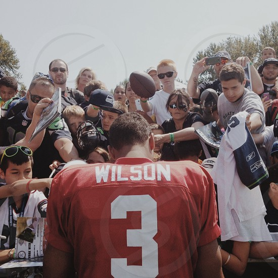 Russell Wilson after training camp signing for fans at the VMAC [taken august 2013 as guest instagrammer for Seattle Seahawks] photo