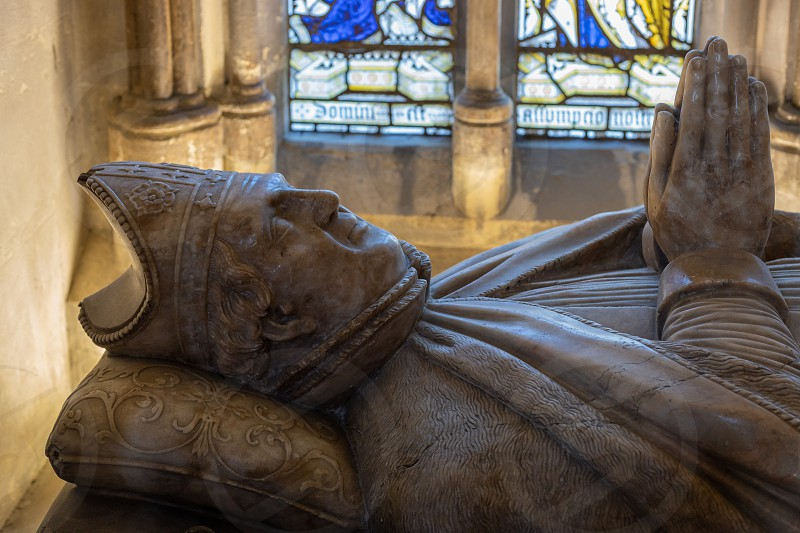 ROCHESTER KENT/UK - MARCH 24 : View of a memorial to Walter de Merton Chancellor of England in the Cathedral at Rochester on March 24 2019 photo