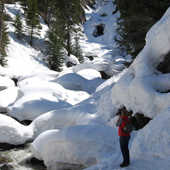 woman in blue denim jeans holding black dslr camera and taking pictures of snow covered rock and green trees photo