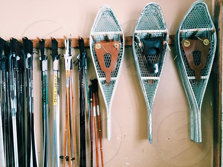 Snow winter snow shoes ski ski poles Michigan  photo
