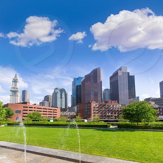 Boston North End Park and slkyline in Massachusetts USA photo