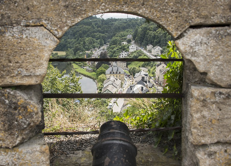canon from the castle of bouillon in the belgium ardennes photo