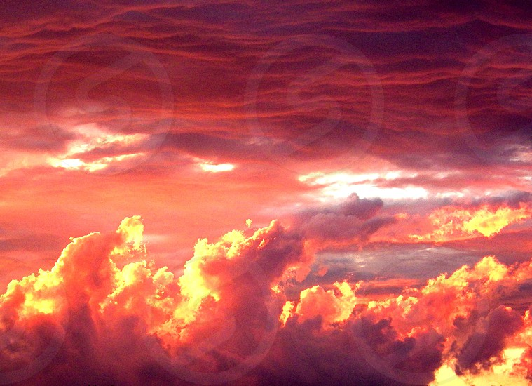 Clouds on Fire at Sunset photo