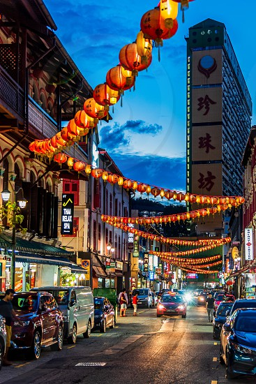 Singapore Chinatown  skyline cityscape lanterns photo