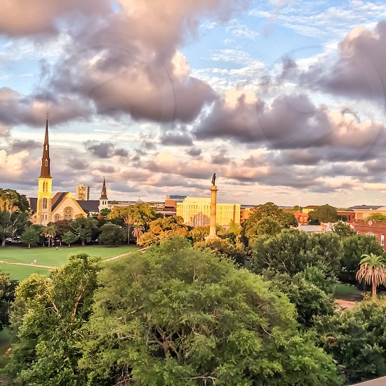 Overlooking Marion Square and the John C Calhoun Statue in Charleston SC.  photo