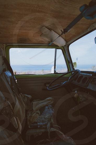 black car steering wheel photo