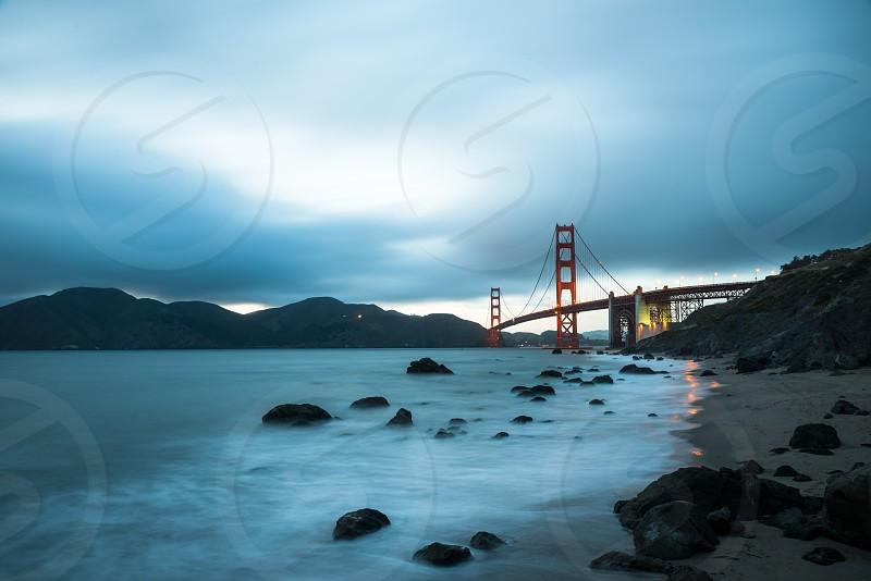 Long exposure of night Golden Gate Bridge in San Francisco California USA photo