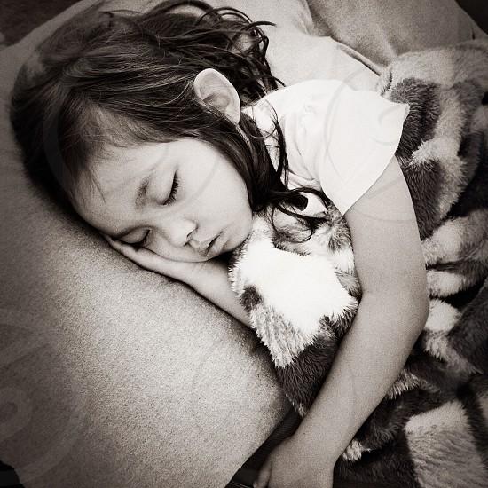 Sleepinggirlchilddreambed photo