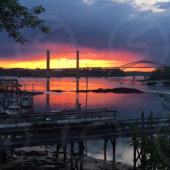 Portsmouth nh sunset river bridges  photo