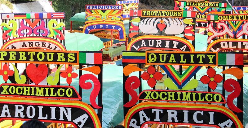 Mexico Xochimilco Trajineras Colors Names Variety photo