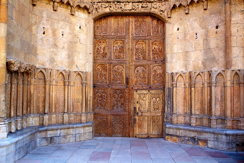 Cathedral of Leon carved door in Castilla at Spain photo