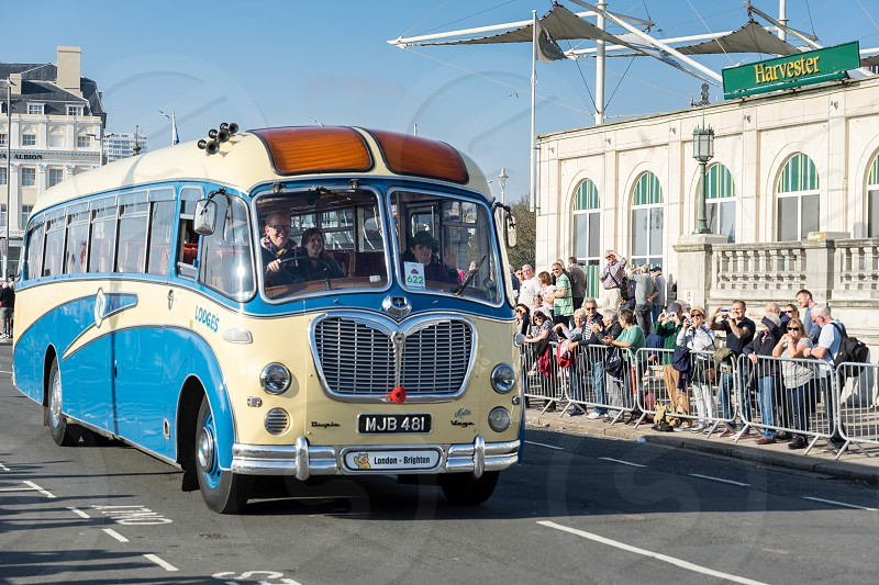 Old Bus approaching the Finish Line of the London to Brighton Veteran Car Run photo