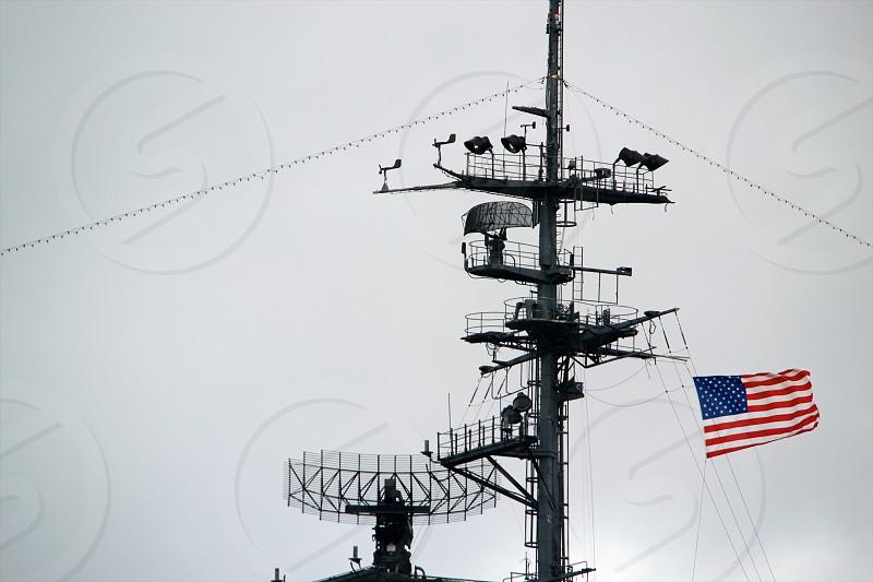 selective photo of united states america flag on warship radar photo