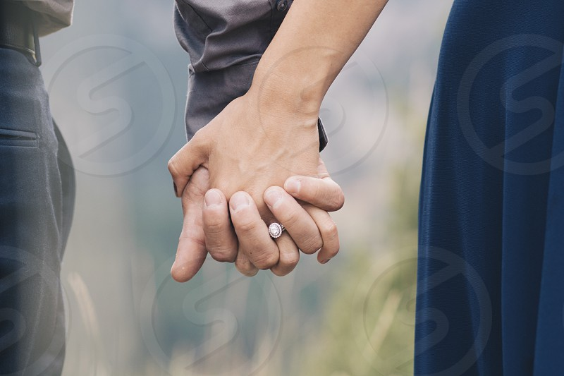 Holding hands romance love romantic ring engaged  photo