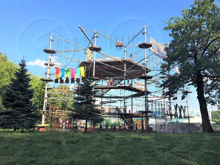Rope park in VDNKh. Moscow Russia.  Amusement park. Vystavka Dostizheniy Narodnogo Khozyaystva Exhibition of Achievements of National Economy photo