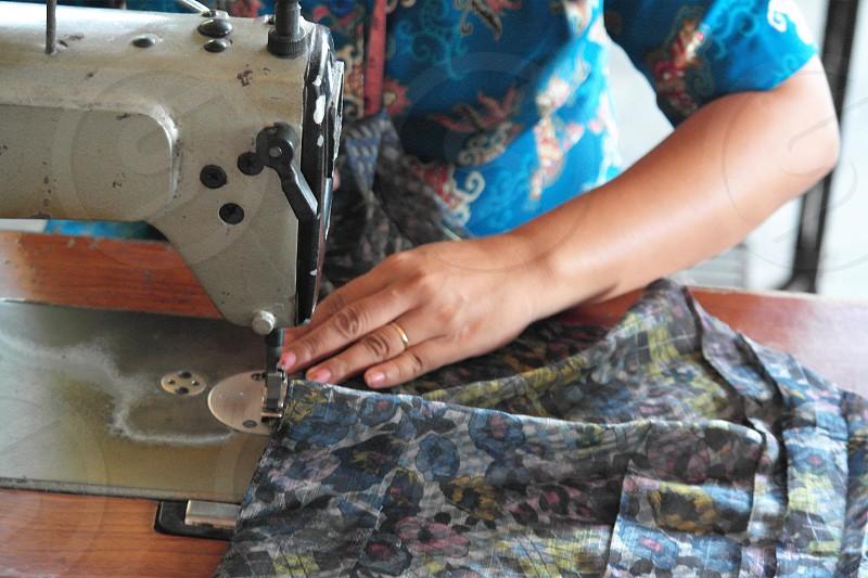 batik making in bali indonesia photo