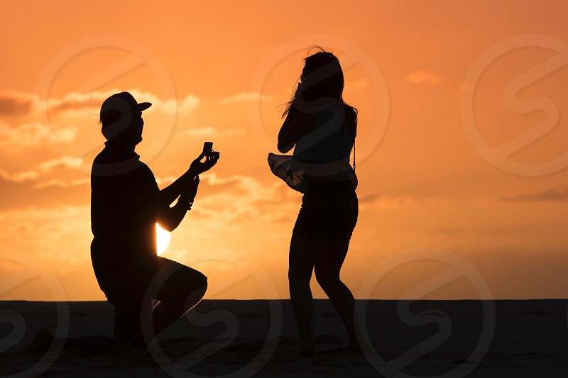 Will you marry me engagement wedding sillhouette  photo