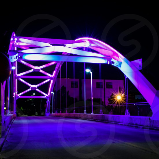 these wonderful lighted bridges that go across the highway. my favorite spot to walk by at night photo