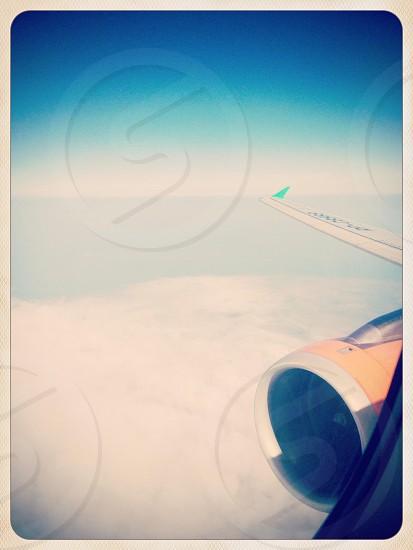 white airplane wing photo