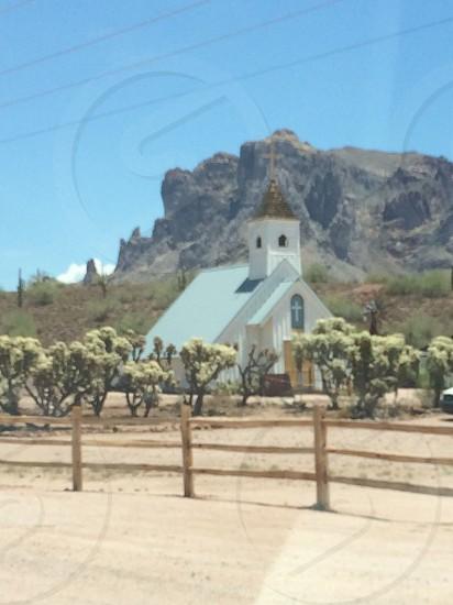 Little white church mountains  photo