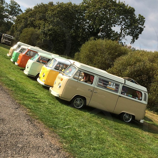 row of classic vw busses photo