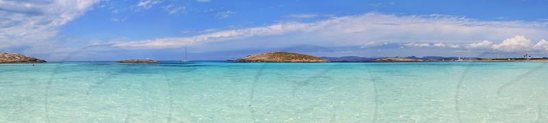 Panoramic Illetas view turquoise Mediterranean horizon Formentera Balearic islands Illetes photo