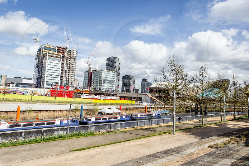 Riverside walk Olympic Park Stratford London photo