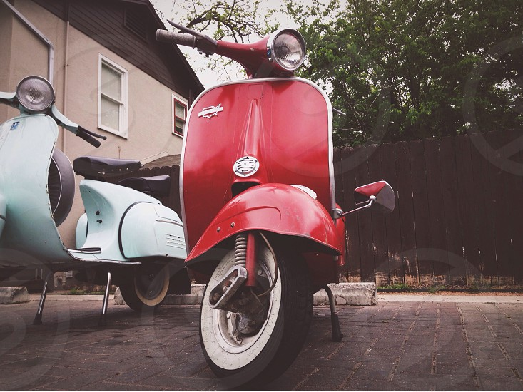 red antique automatic scooter photo