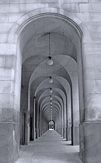 City cityscape Manchester England black and white patterns repetition columns architecture photo