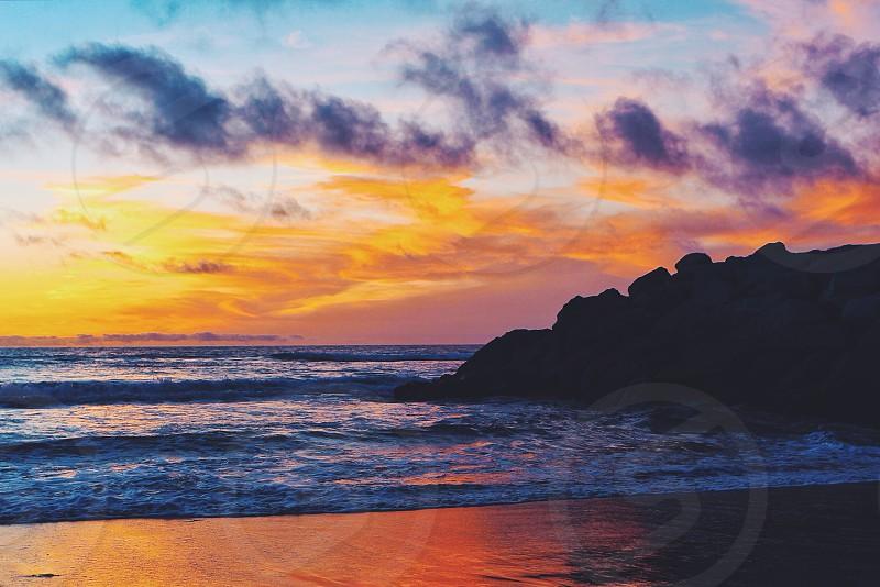 seashore at sunset photo