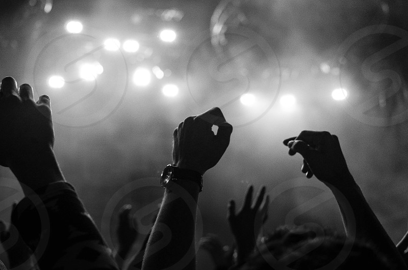 group of people raising hands in grayscale photo photo