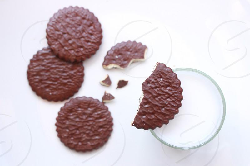 chocolate cookies milk snacks cookies photo