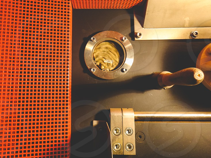 Coffee beans in an industrial coffee roaster photo