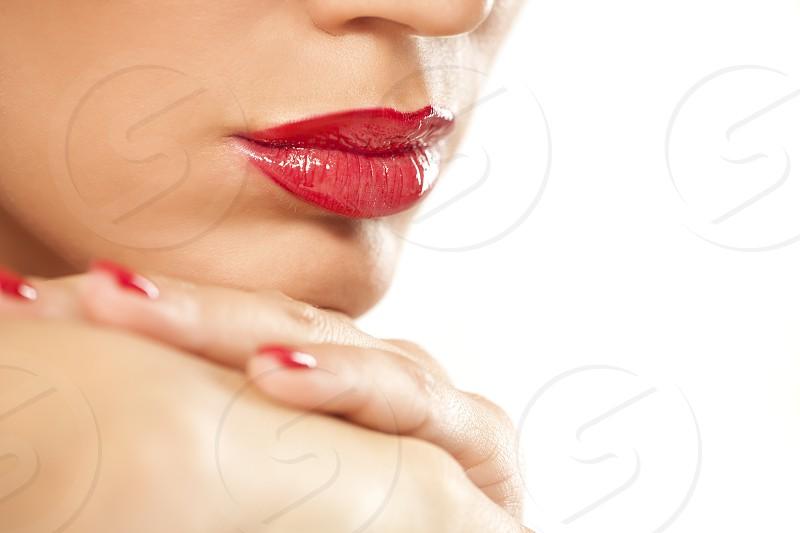 beautiful lips with red lipstick photo