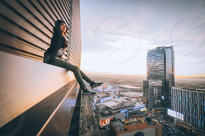 Explore exploring buildings rooftops model high life Los Angeles LA California vans shoes style mostbrand ritz Carlton staples center lakers sports  photo