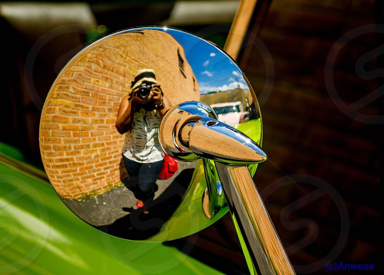 silver motorcycle side mirror photo