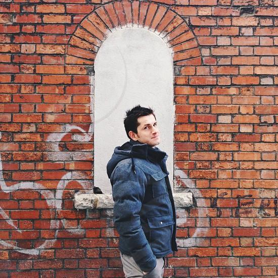 mens black jacket photo