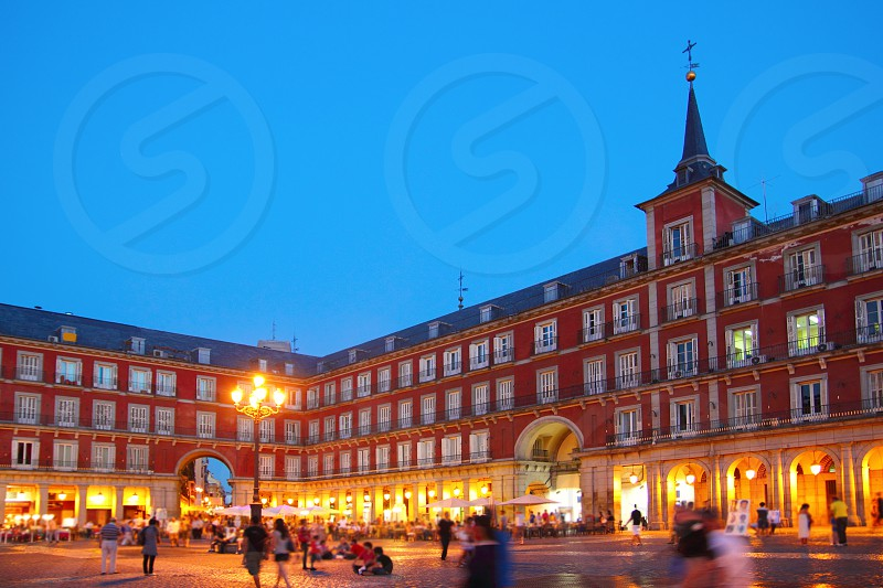 Madrid Plaza Mayor night lights typical square in Spain photo