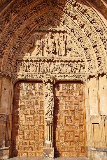 Cathedral of Leon facade door in Castilla at Spain photo