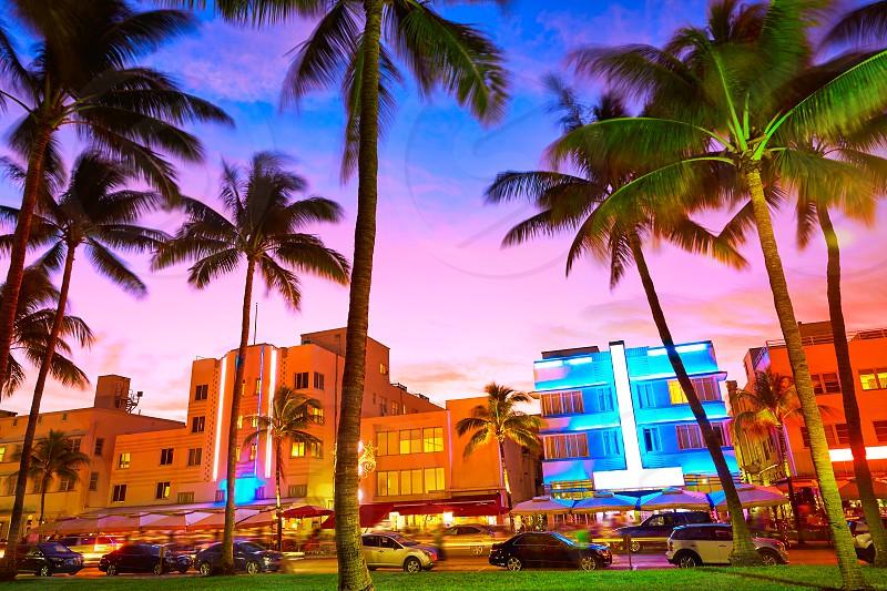 Miami Beach South Beach sunset in Ocean Drive Florida Art Deco photo