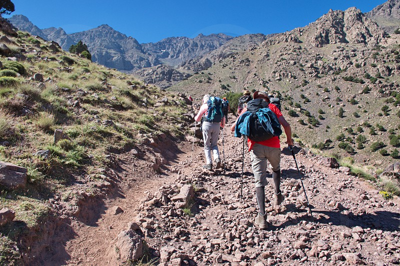 Hiking in High Atlas mountains in Morocco photo