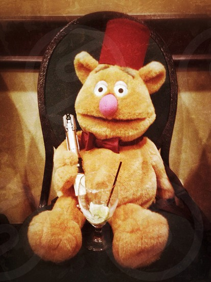 Fozzy Who? Fozzy Bear ties one on at the Dr. Who convention; sonic screwdriver fez and all!! Who said teddy bears are all cuddles? photo