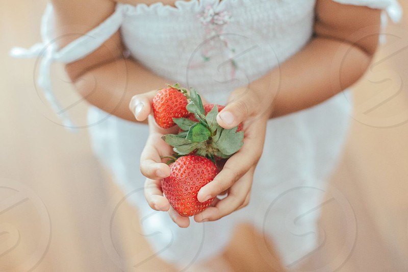 girl holding red strawberries photo