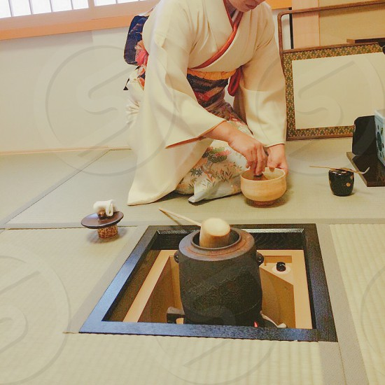 JAPAN women tea ceremony sado green tatami photo