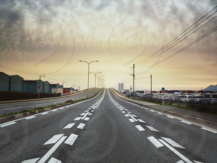 city road way view photo